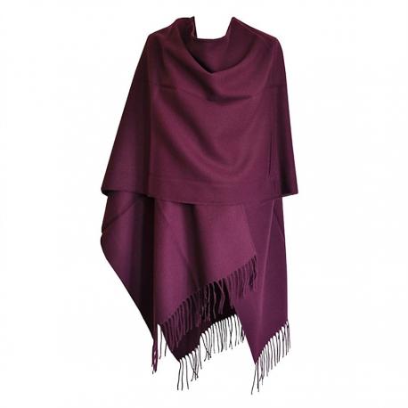 Grand Poncho violet avec franges