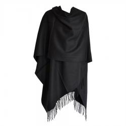 Grand Poncho noir avec franges