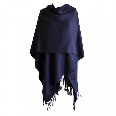 Grand Poncho bleu avec franges