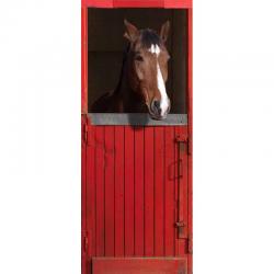 """Sticker de portes trompe l'oeil """"Box rouge pour cheval"""""""