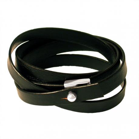 Bracelet pour Homme en cuir à lacet 4 tours et fermoir argent