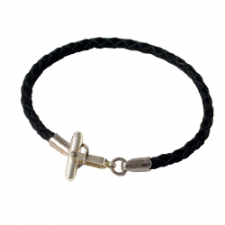 bracelet pour homme en triple cuir tressé avec fermoir manchette en argent rhodié