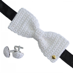 coffret noeud papilllon et boutons de manchettes en crochet blanc diamant made in Paris