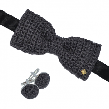 coffret noeud papilllon et boutons de manchettes en crochet gris truffe made in paris