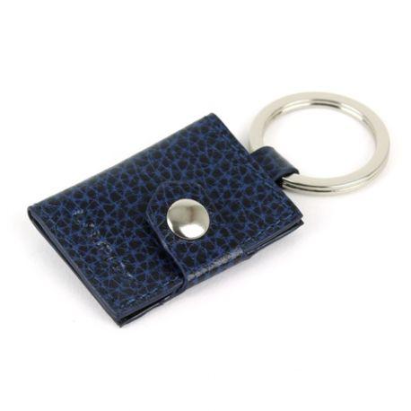 Porte-clés personnalisé en cuir porte-photos bleu marine 1