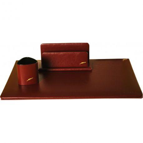 Parure de bureau en cuir sans rabat Windsor 3 pièces Grand format personnalisable