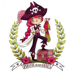 "Sticker Géant "" Pirate Girl"" 120x 96cm"
