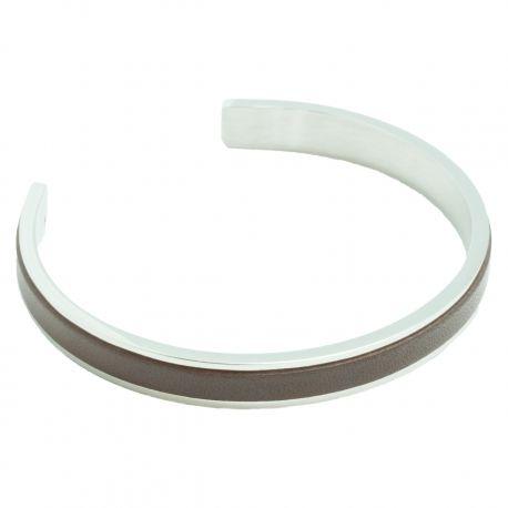 Bracelet Jonc acier et Cuir marron