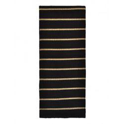 Echarpe en laine noire rayures couleur taupe