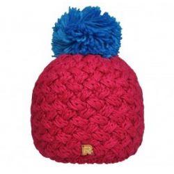 Bonnet tricot croisé Fushia, Pompon bleu