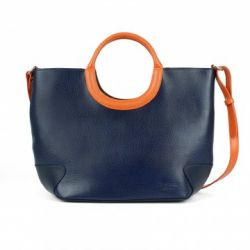 Sac bicolore cuir Belle-Ile Marine/Orange