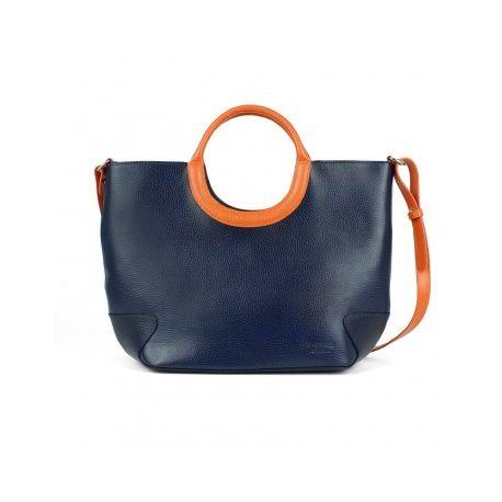 Sac bicolore cuir Belle-Ile Marine/Orange