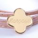 Bracelet Amazone Trèfle en plaqué or et cuir à personnaliser