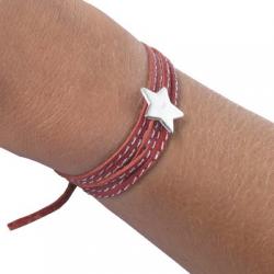 Bracelet Amazone Star en argent et cuir à personnaliser