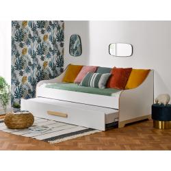 Lit-Banquette Gigogne 90x190cm Boréal blanc bois écologique