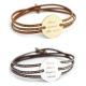 Bracelet cuir médaille argent ou plaqué or Amazone Family