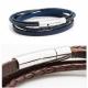 """Bracelet cuir Homme """"Mix lien"""" personnalisable Bleu, Cognac, Marron, Noir - Made in France"""