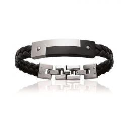 Bracelet Homme Cuir et acier à personnaliser Ying - Yang - Made in France